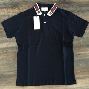 Gucci Black Polo Cotton T-shirt Men Size : Small